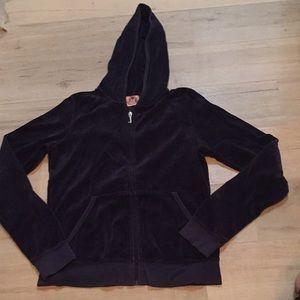 Juicy velvet zip up hoodie navy